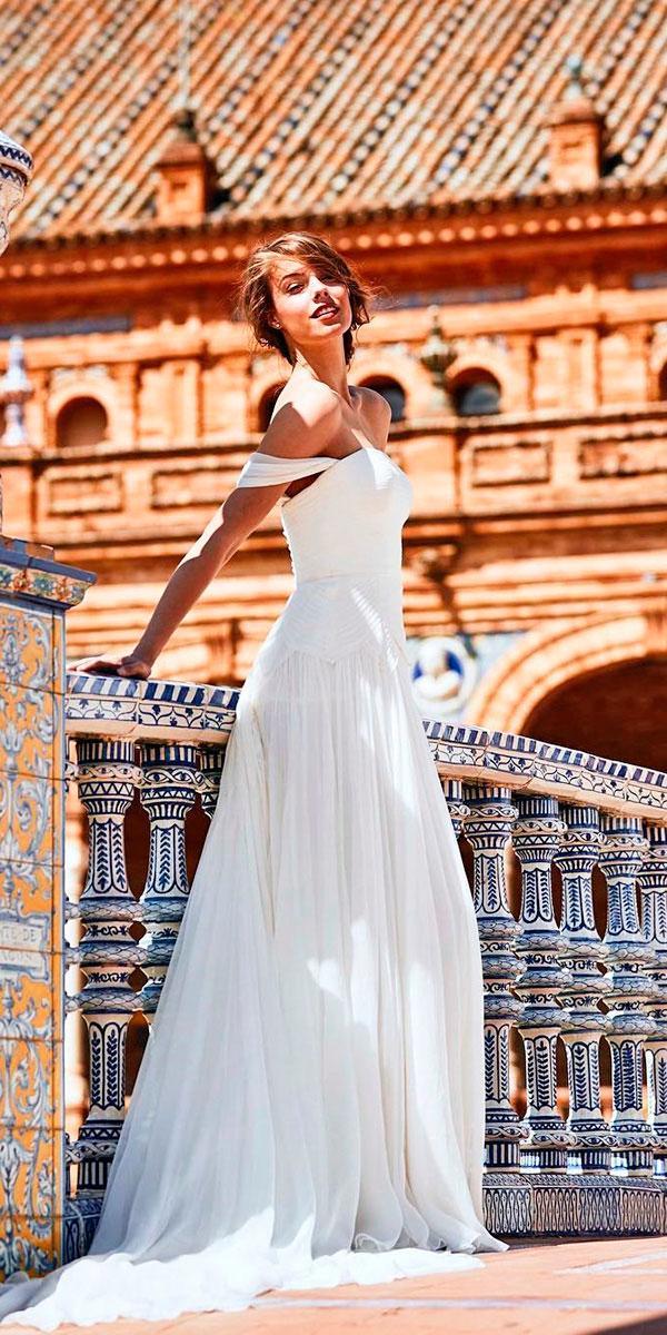 strapless simple off the shoulder wedding dresses pronovias