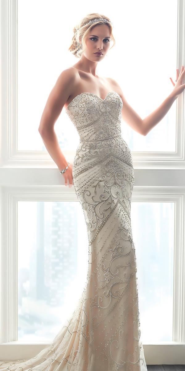 strapless sweetheart fully beaded sheath vintage wedding dresses christina wu
