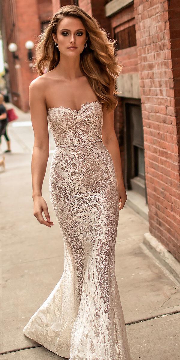 strapless sweetheart neckline elegant sheath lace wedding dresses berta bridal