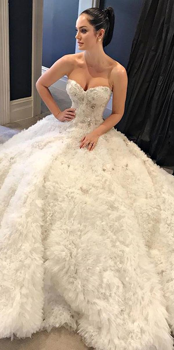 strapless sweetheart neckline lace embroidered bodice ball gown wedding dresses steven khalil