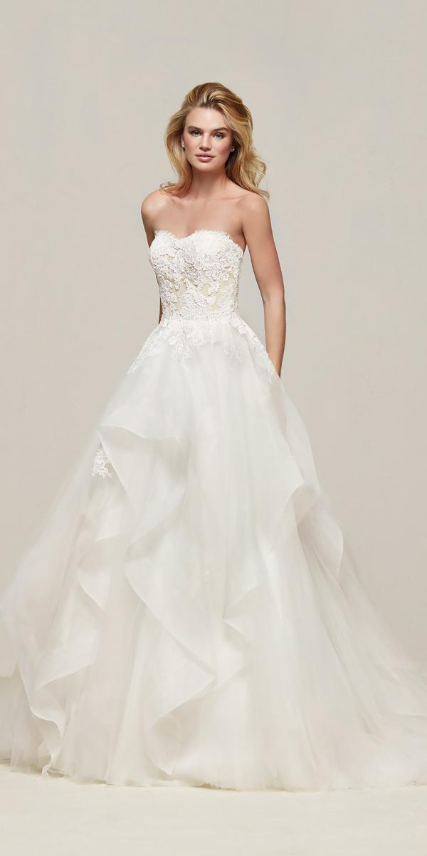 strapless sweetheart princess ball gowns wedding dresses with ruffled skirt pronovias