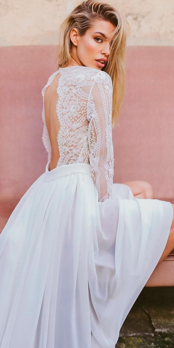summer beach wedding dresses lace open back with sleeves novias vintage barcelona