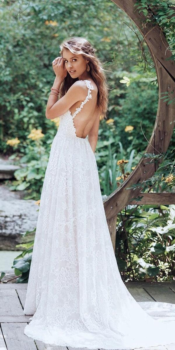 summer wedding dresse a line backless lace beach by lillian west