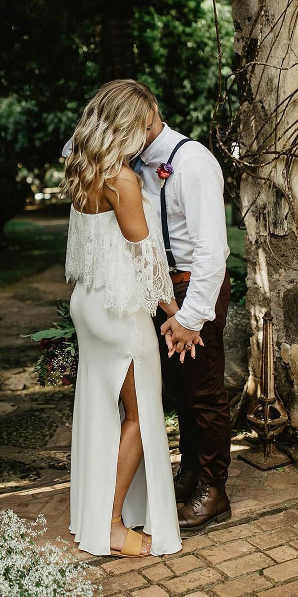 wedding dresses off the shoulder with slit beach grace loves lace