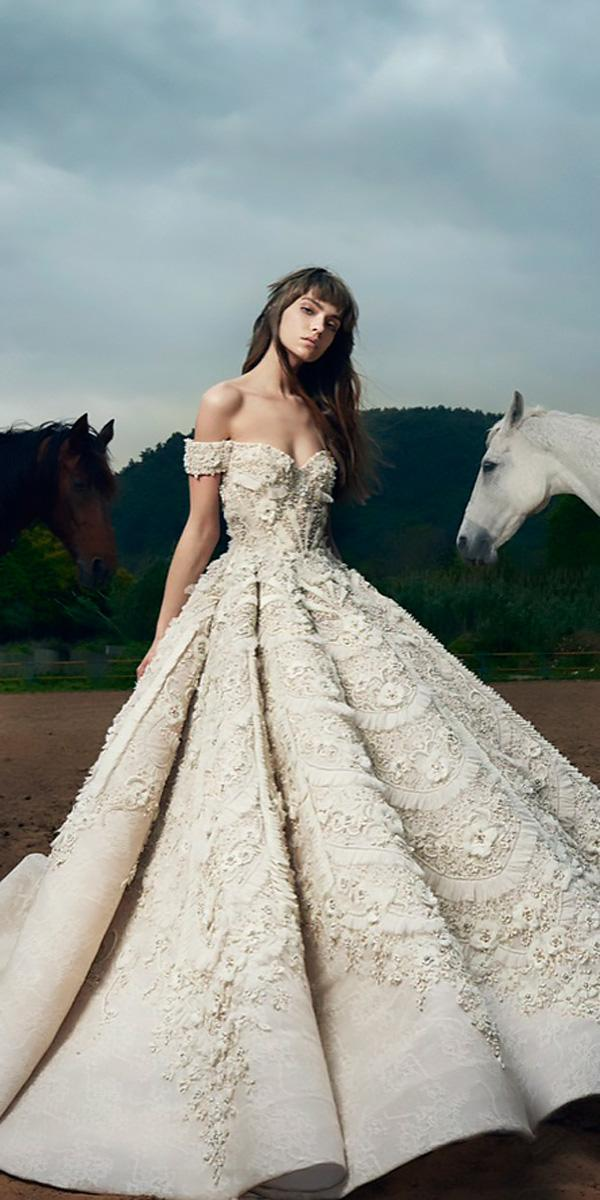 sweetheart off the shoulder ball gowns wedding dresses saiid kobeisy
