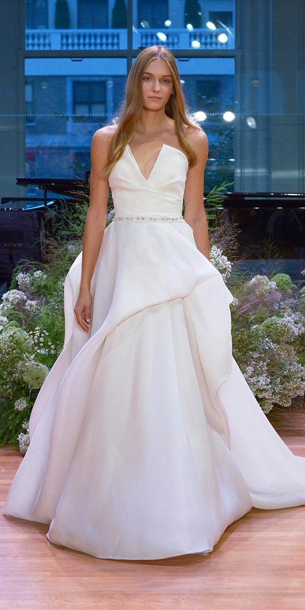 sweetheart ruffle ball gown with belt wedding dresses monique lhuillier 2017