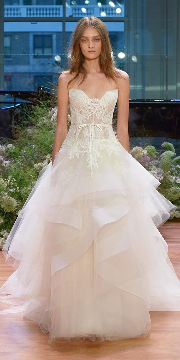 sweetheart ruffles ball gown monique lhuillier 2017 wedding dresses