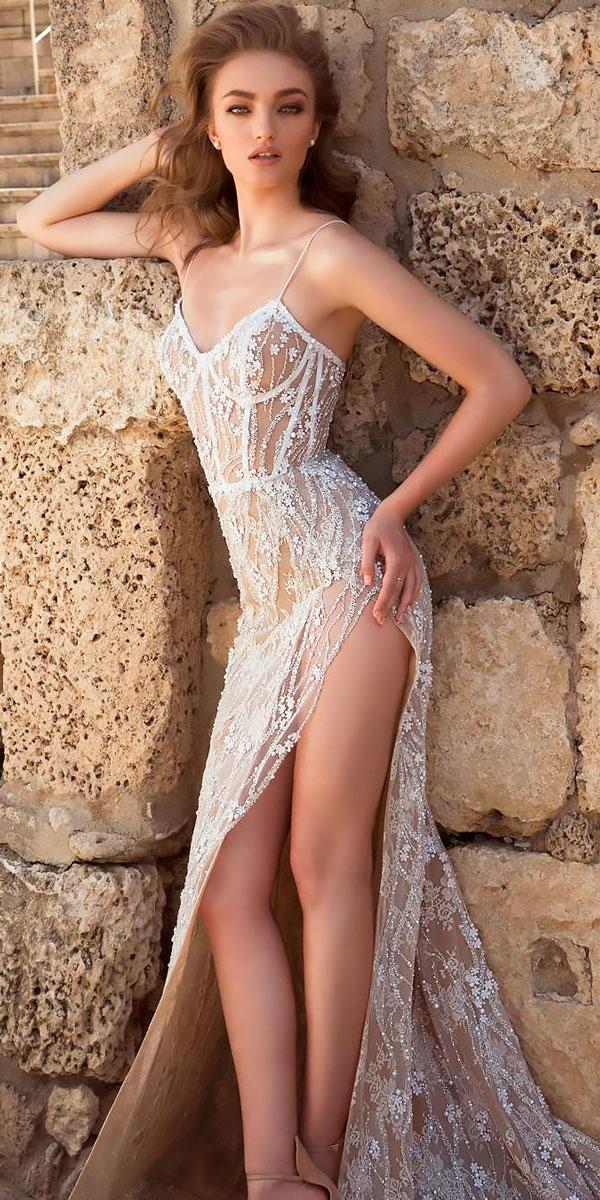 beach sheath sweetheart spaghetti straps wedding dresses with high slit dany mizrachi