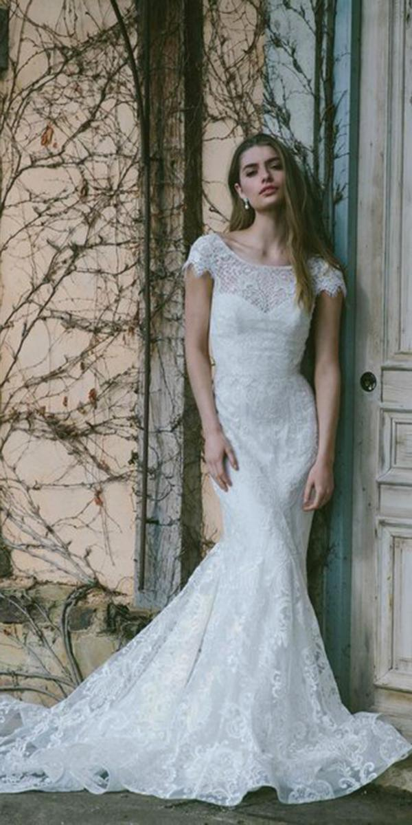 trumpet with embellished luxurious laces and crista belt anna campbel wedding dresses