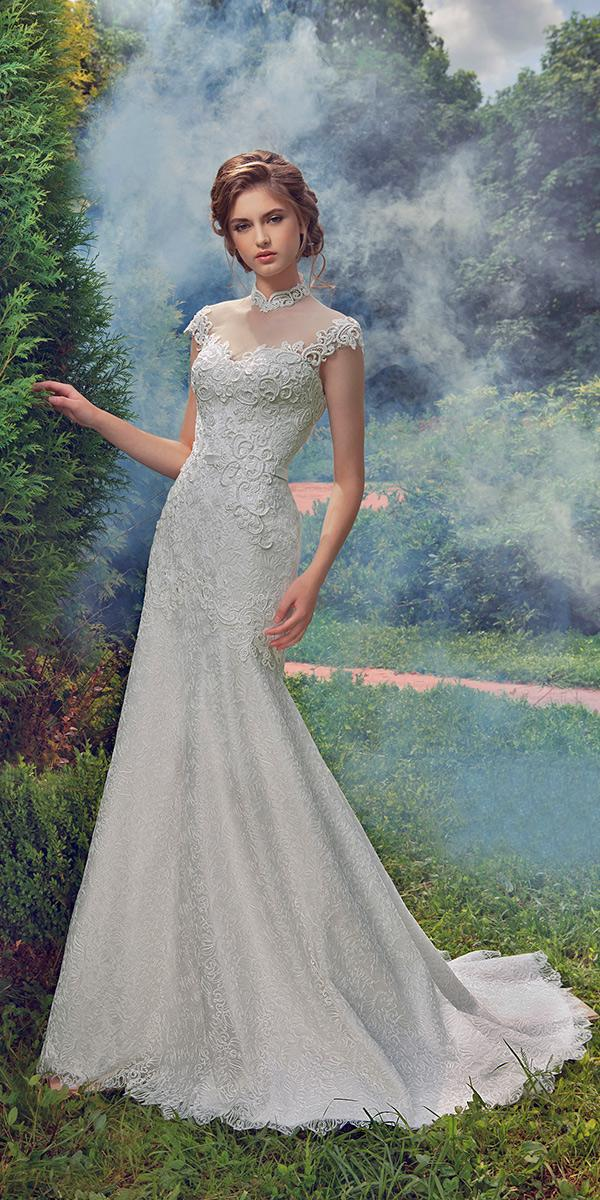trumpet with embroidered lace and illusion sweetheart and off shoulder and train milva wedding dresses