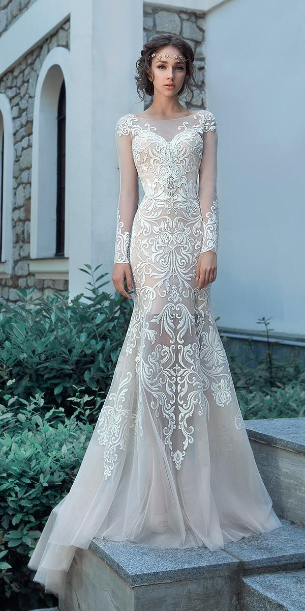 trumpet with floral embroidered lace top and long illusion sleeves and train milva wedding dresses