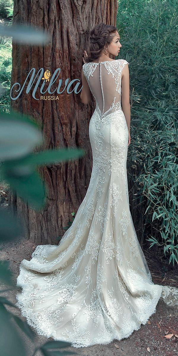 trumpet with illusion back with buttons and train milva wedding dresses