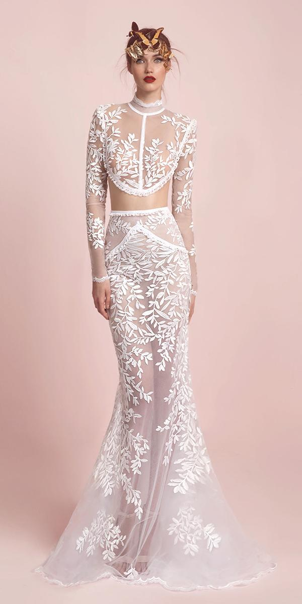 two piece gown with floral details lior charchy wedding dresses