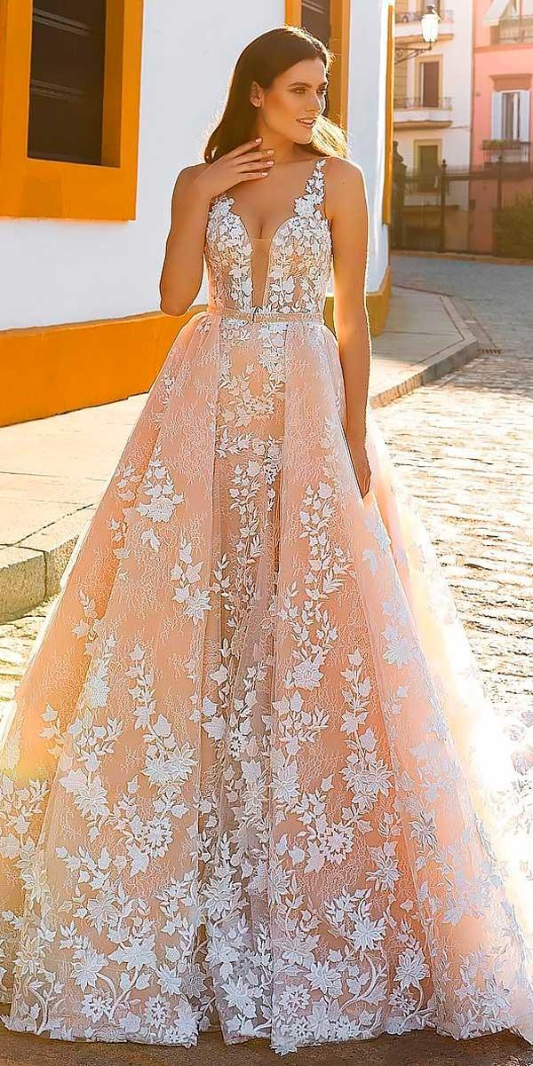 v neck blush ball gowns wedding dresses with straps crystal designe
