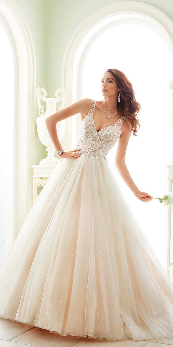 v neckline with beaded bodice and straps ball gowns wedding dresses sophia tolli