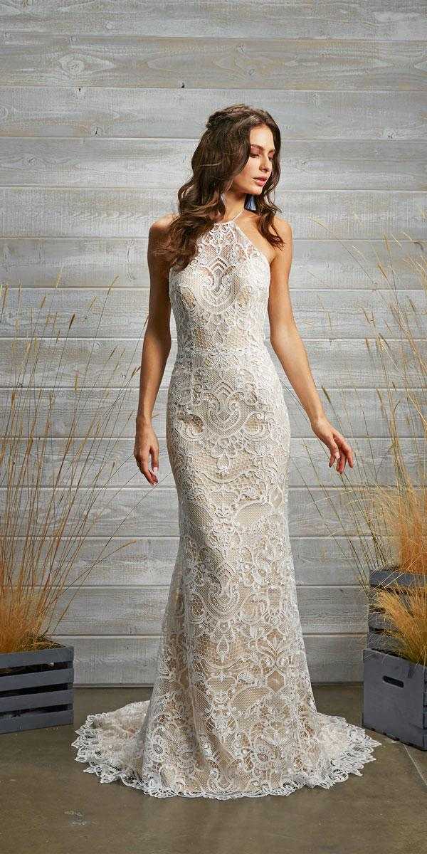 vintage lace halter wedding dresses with train tara lauren style caprise