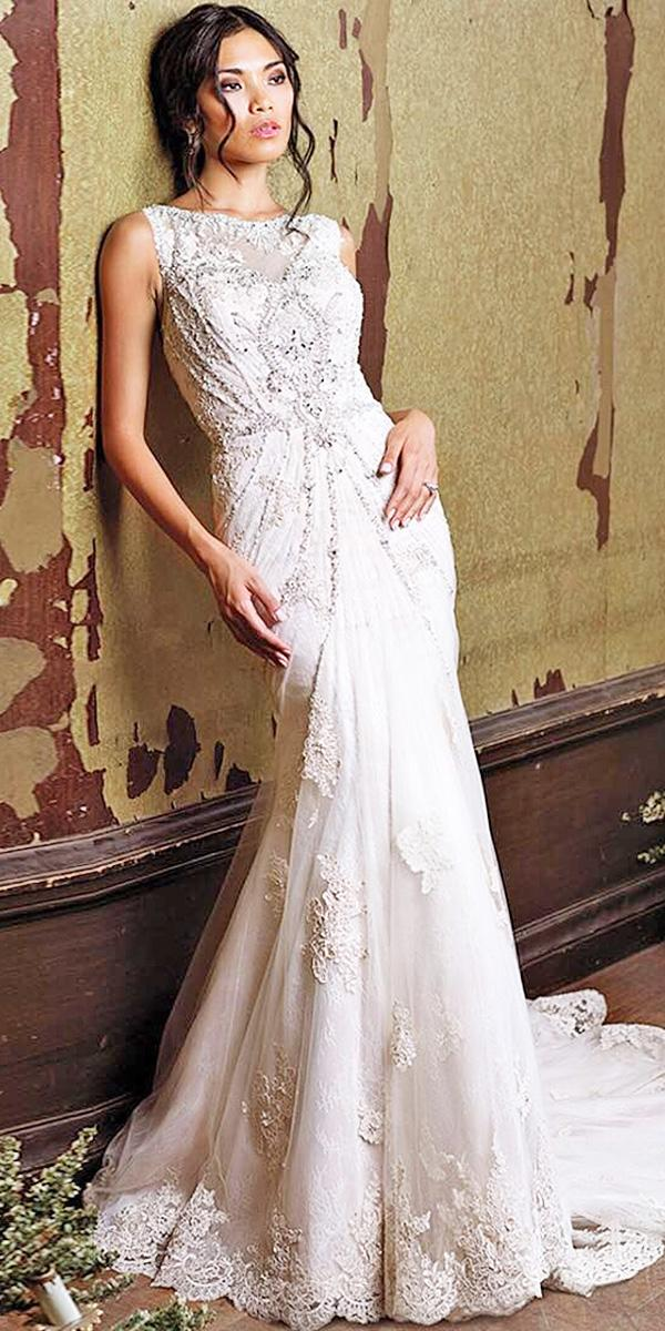 vintage lace wedding dresses mermaid jewel neckline embroidery lace embellishment justin alexander