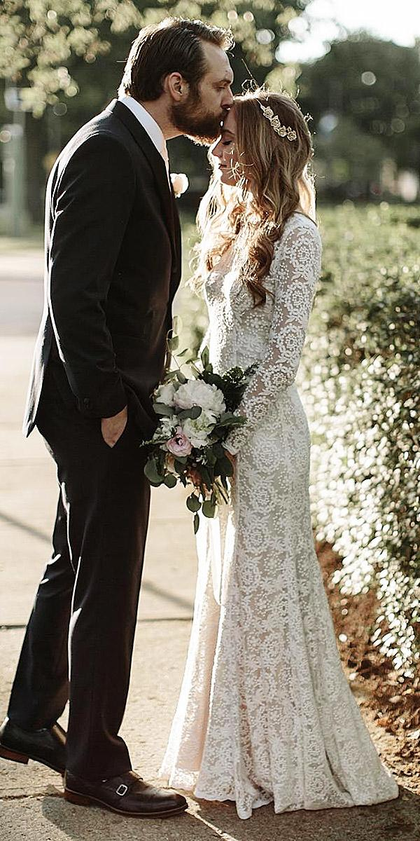 vintage lace wedding dresses with long sleeves embellishment dreamers and lovers