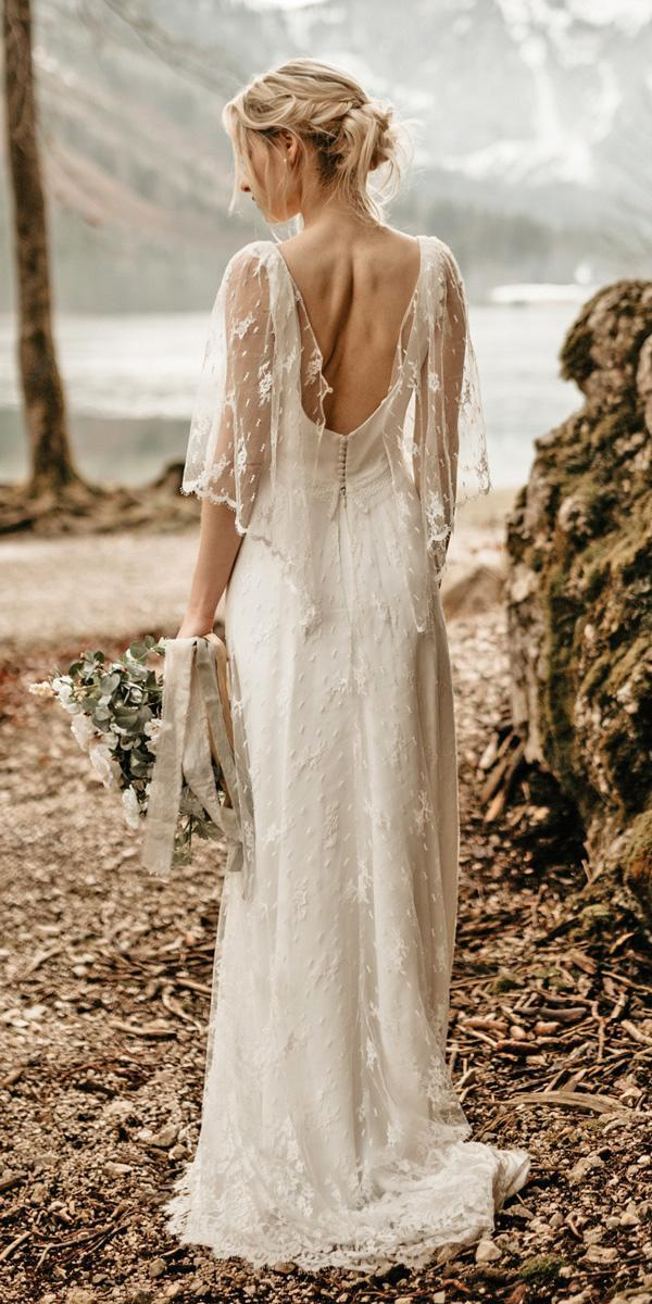 boho vintage low back straight with sleeves sheath wedding dresses youandmefotografie