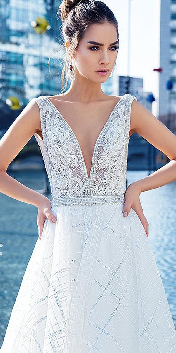 wedding dress neckline deep v neckline lace embellishment beaded lorenzo rossi