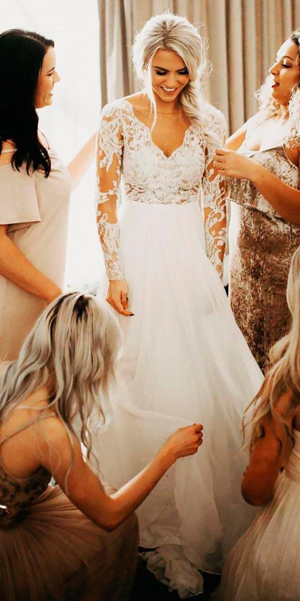 wedding dresses with lace long sleeve a line v neckline jordynn