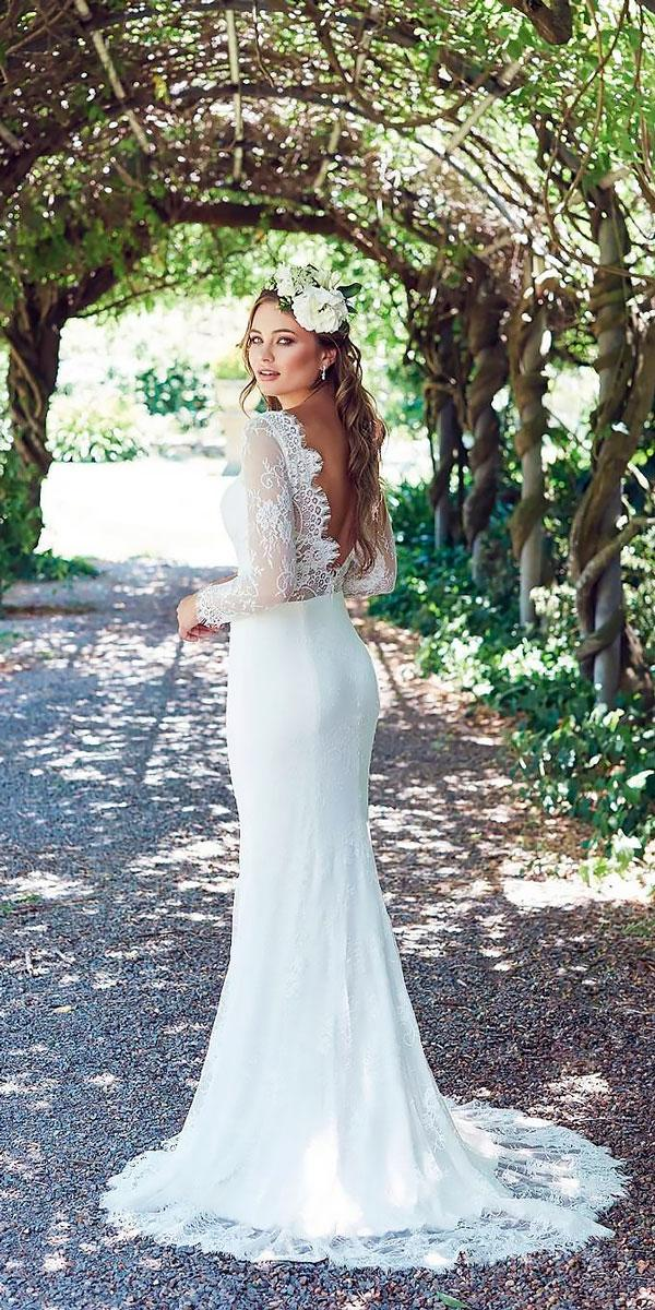 wedding dresses with lace long sleeve open back lost in love