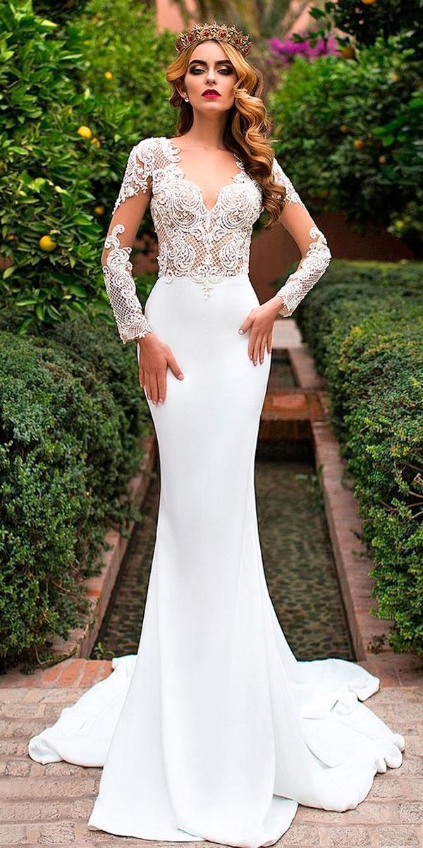 wedding dresses with lace long sleeve sheath v neckline lorenzo rossi
