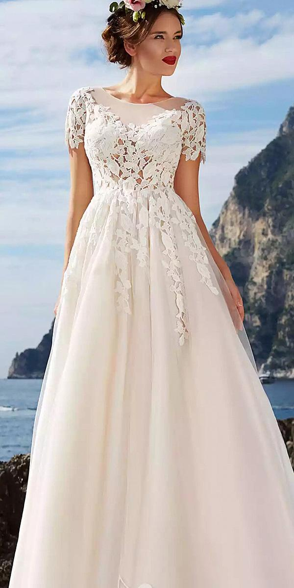wedding dresses with lace sleeves a line floral embellishment victoria soprano