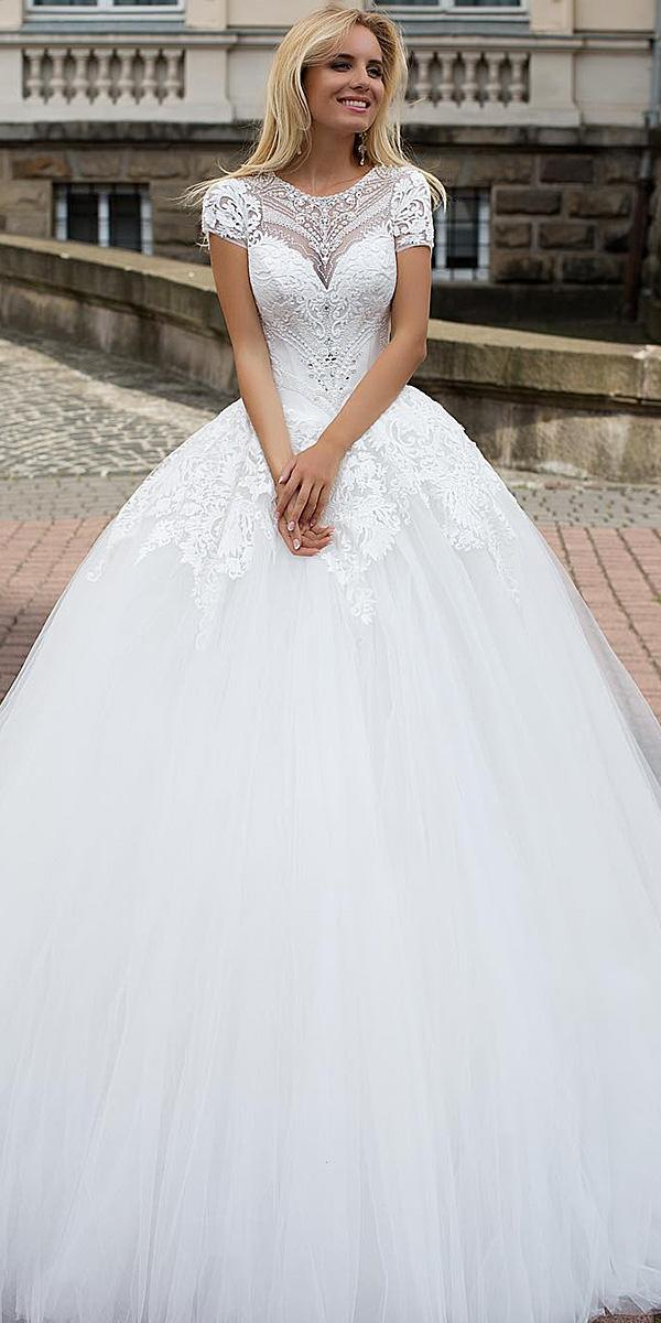 wedding dresses with lace sleeves ball gown lace floral oksana mukha