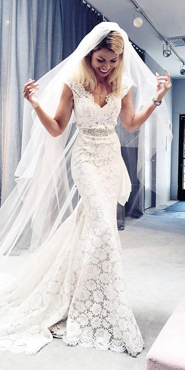 wedding dresses with lace sleeves v neck floral embellishment beaded eddyk bridal