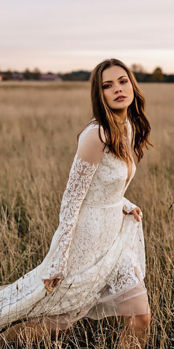 western v neck long sleeved lace country wedding dresses chris ruth
