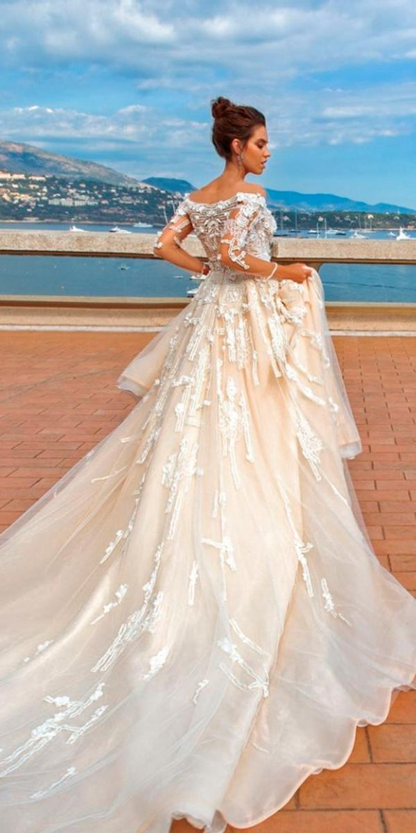 3d lace a line beach tattoo effect with long sleeves train 2018 crystal design wedding dresses