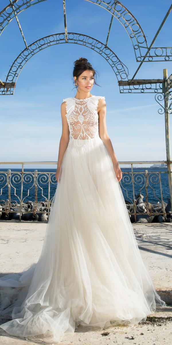 a line bateau neckline lace wedding dresses vered vaknin