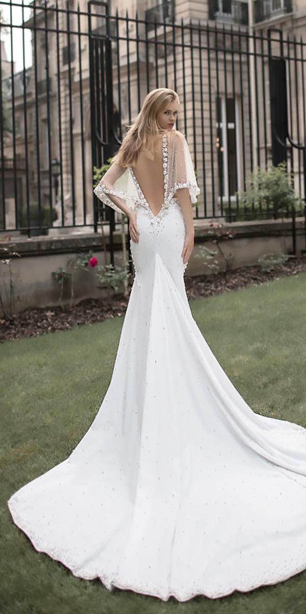 a line open back with train beach wedding dresses idan cohen