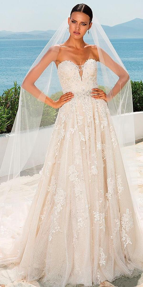 a line strapless sweetheart neck lace beach wedding dresses justin alexander