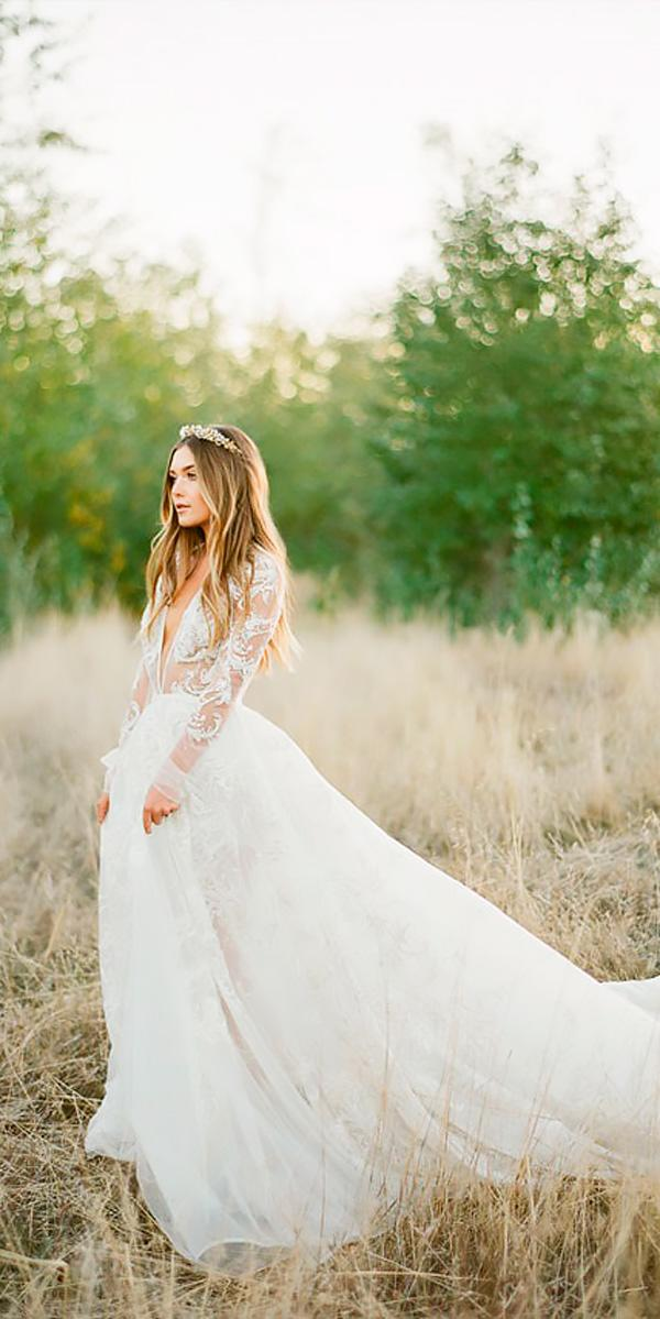 a line v neckline lace with long sleeves vintage wedding dresses jemma keech