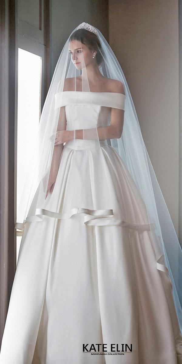 a line with off shoulder strap simple silk wedding dresses elin