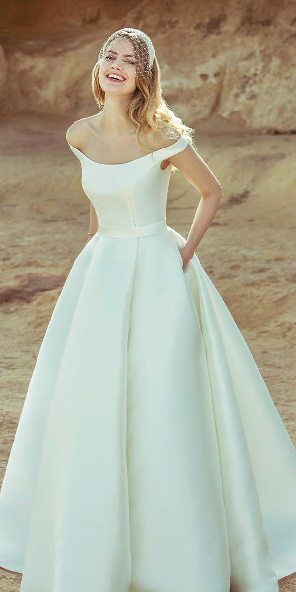 a line with off shoulder strap simple silk wedding dresses ellis bridals
