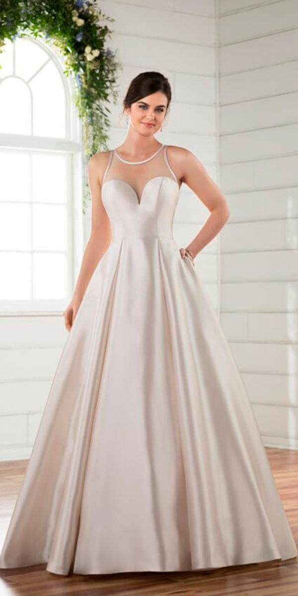 a line with sweetheart and illusion halter simple essense silk wedding dresses