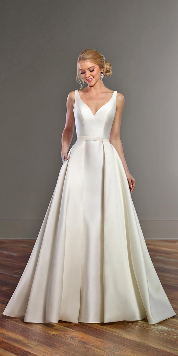 a line with v neck simple silk wedding dresses martina liana