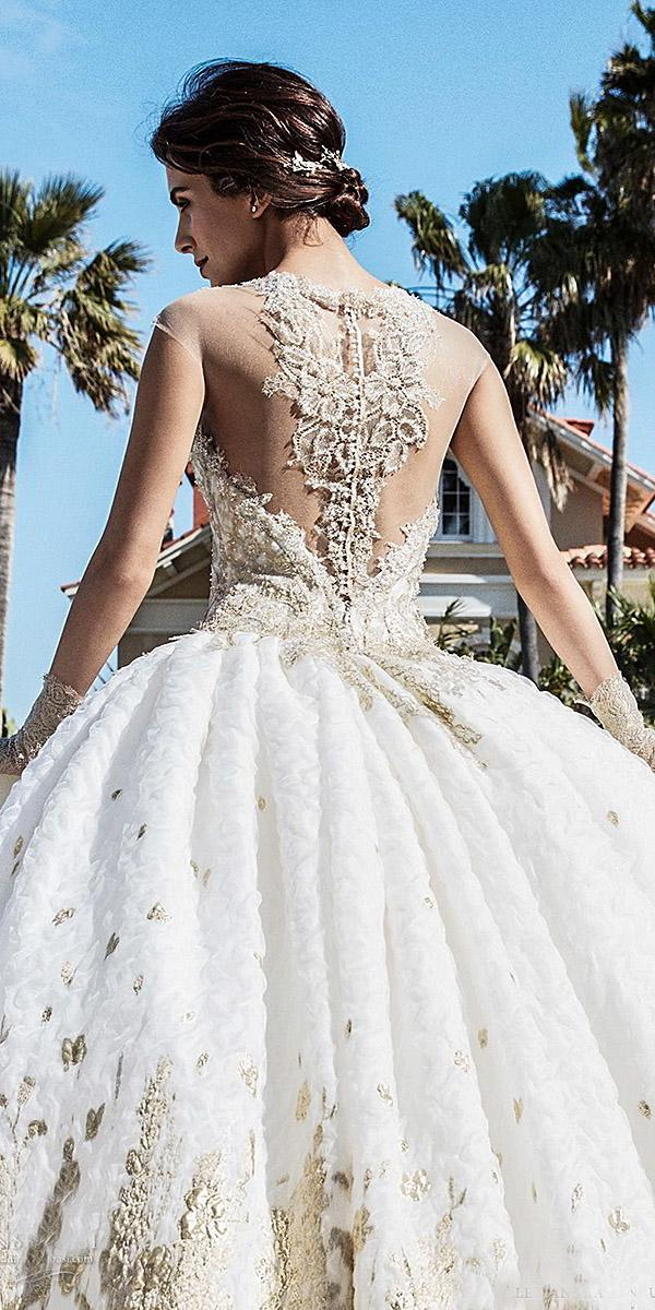 alessandra rinaudo wedding dresses ball gown gold floral tatto back