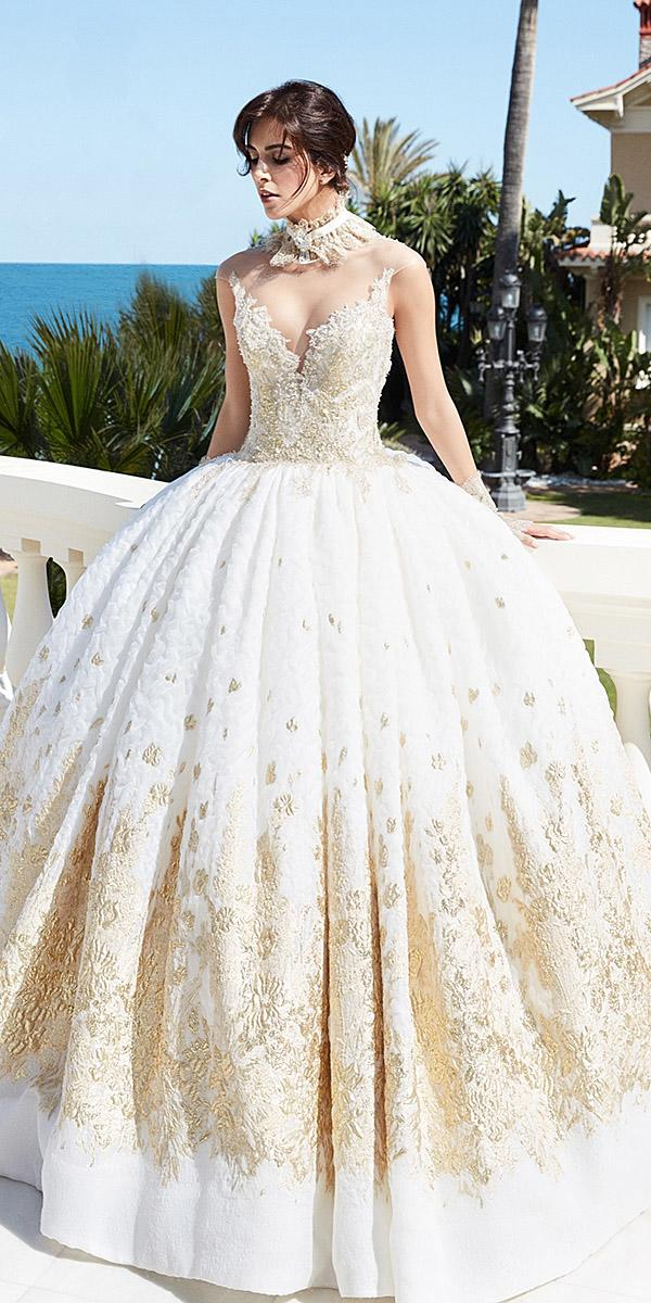 alessandra rinaudo wedding dresses ball gown strapless with gold embellished bodice princess