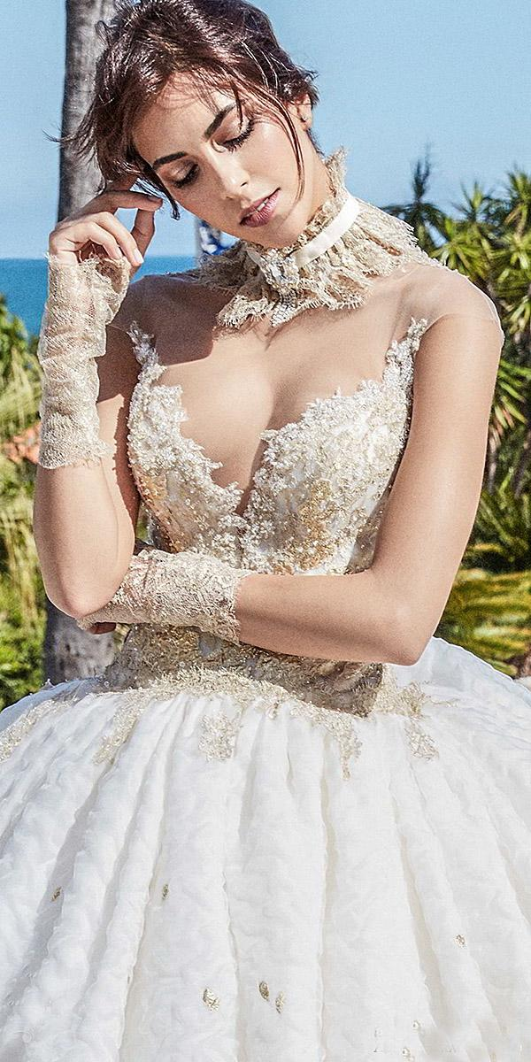 alessandra rinaudo wedding dresses illusion strapless sweetheart neckline gold embellished