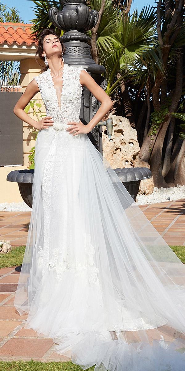 alessandra rinaudo wedding dresses sleeveless deep v neckline floral appliques overskirt