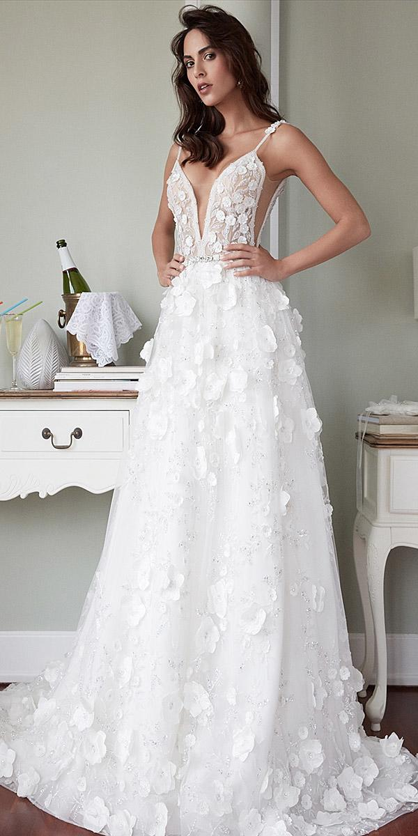 alessandra rinaudo wedding dresses spaghetti straps deep v neckline floral aplliques 2018