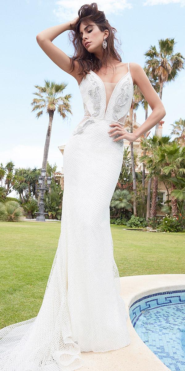 alessandra rinaudo wedding dresses trumpet deep v neckline floral appliques with train