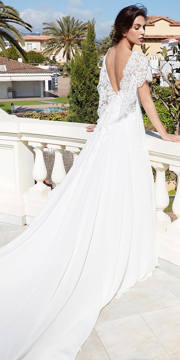 alessandra rinaudo wedding dresses v back lace top satin skirt with train