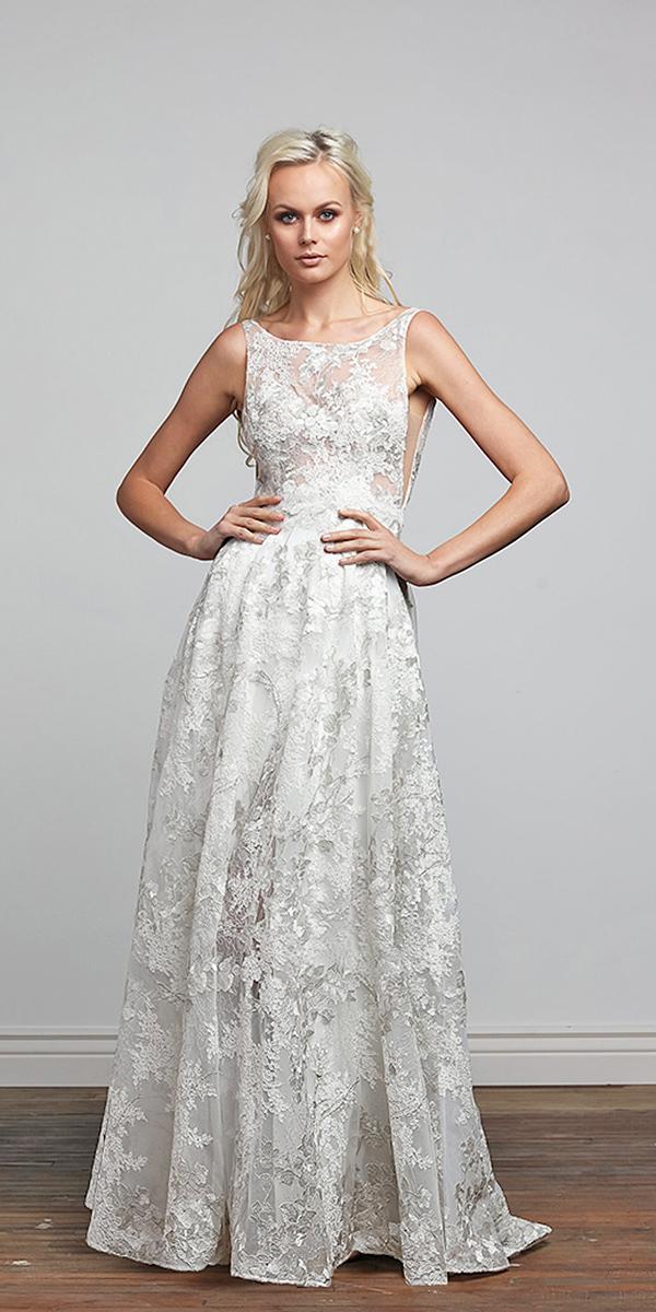 barbara kavchok wedding dresses 2018 floral embellishment a line square neckline