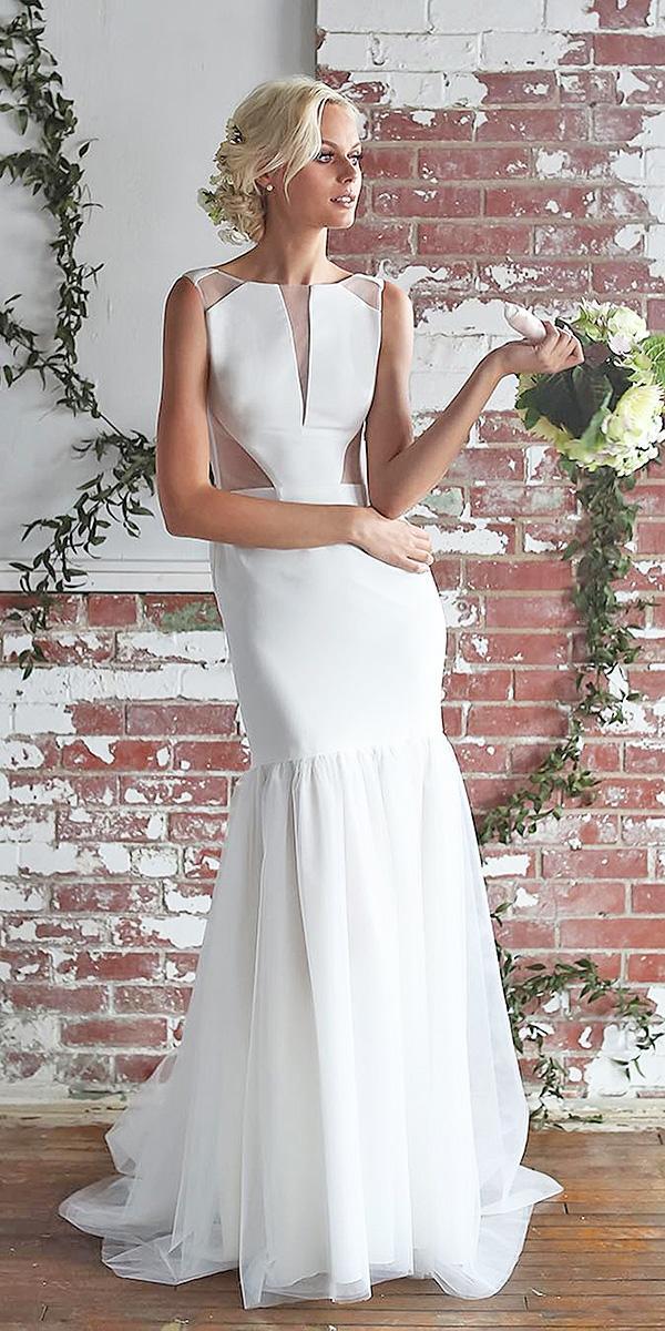barbara kavchok wedding dresses 2018 high neck simple sheer cutouts