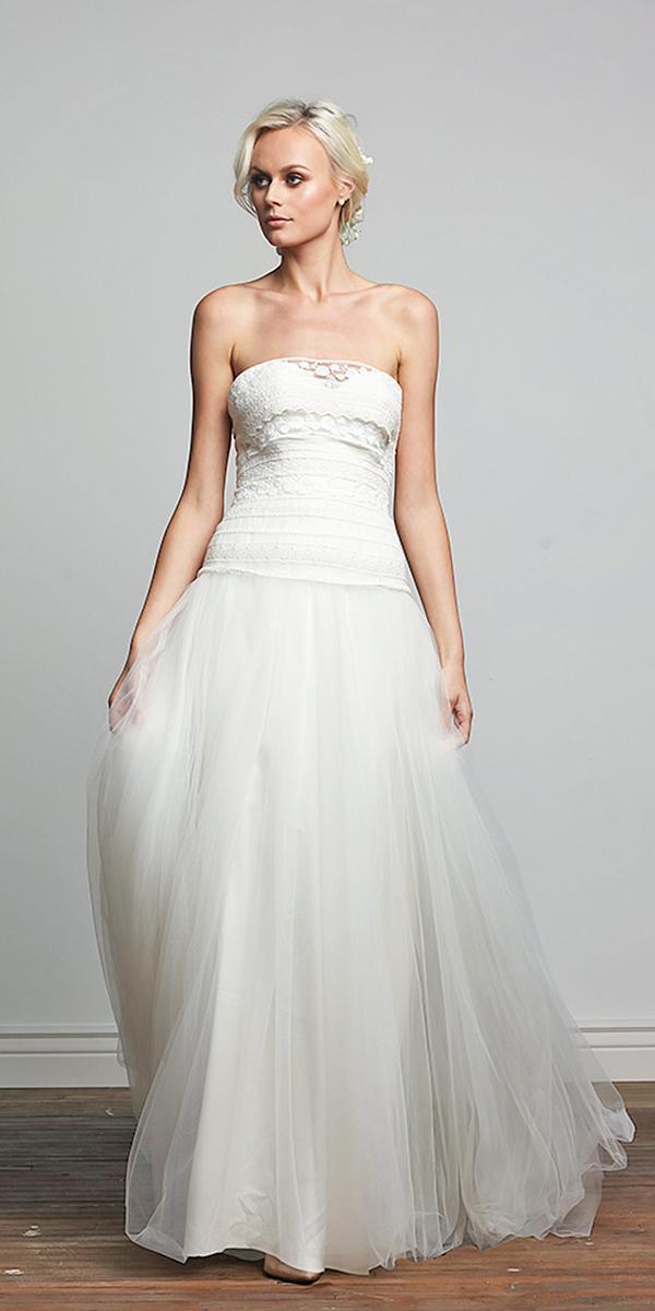 barbara kavchok wedding dresses 2018 tulle skirt strapless lace embellishment